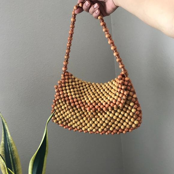 4e10ac7c1cf Vintage Wood Beaded Bag MADE IN JAPAN